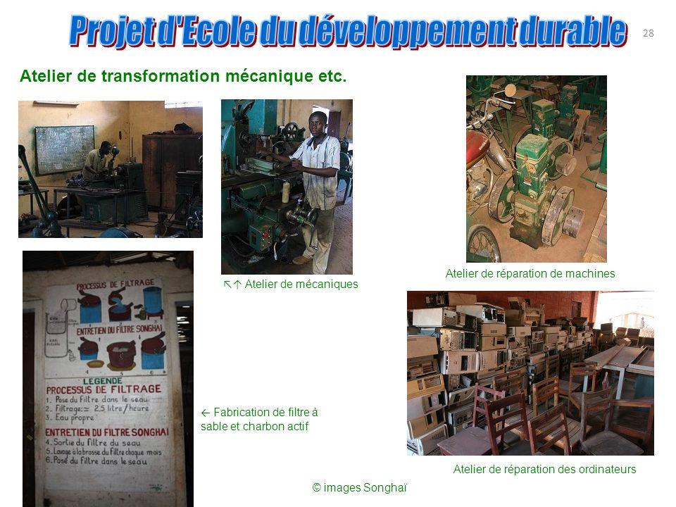 Atelier de transformation mécanique etc. 28 Atelier de réparation de machines Fabrication de filtre à sable et charbon actif Atelier de réparation des