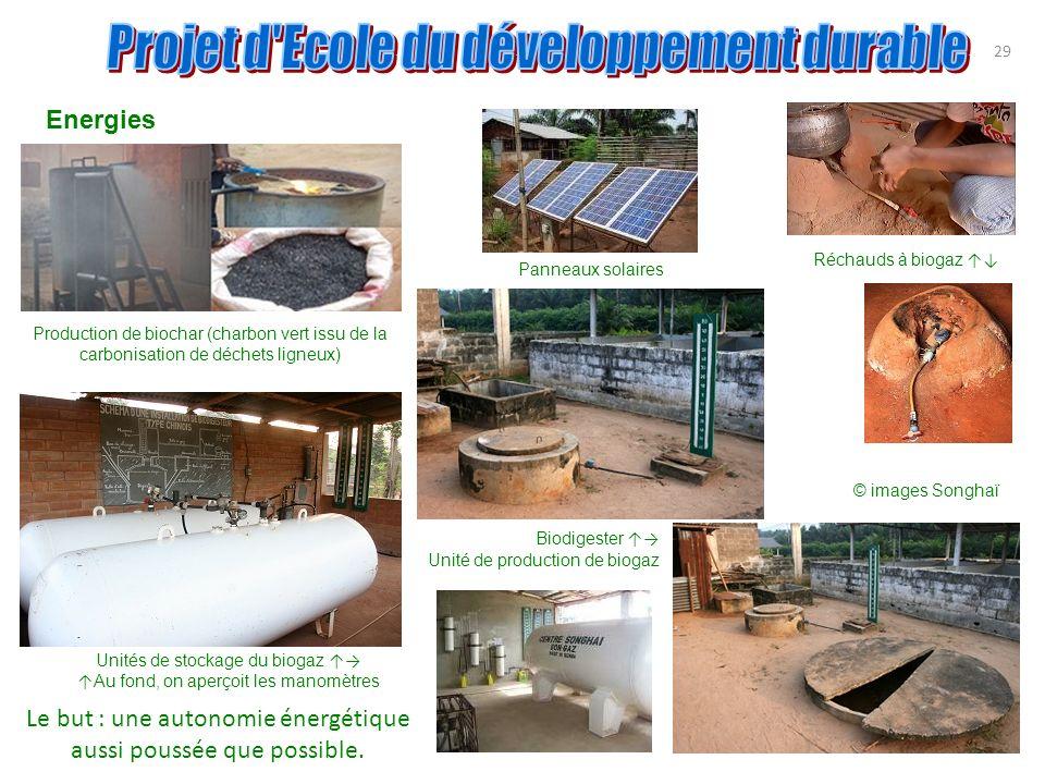 Energies 29 Production de biochar (charbon vert issu de la carbonisation de déchets ligneux) Panneaux solaires Réchauds à biogaz Unités de stockage du