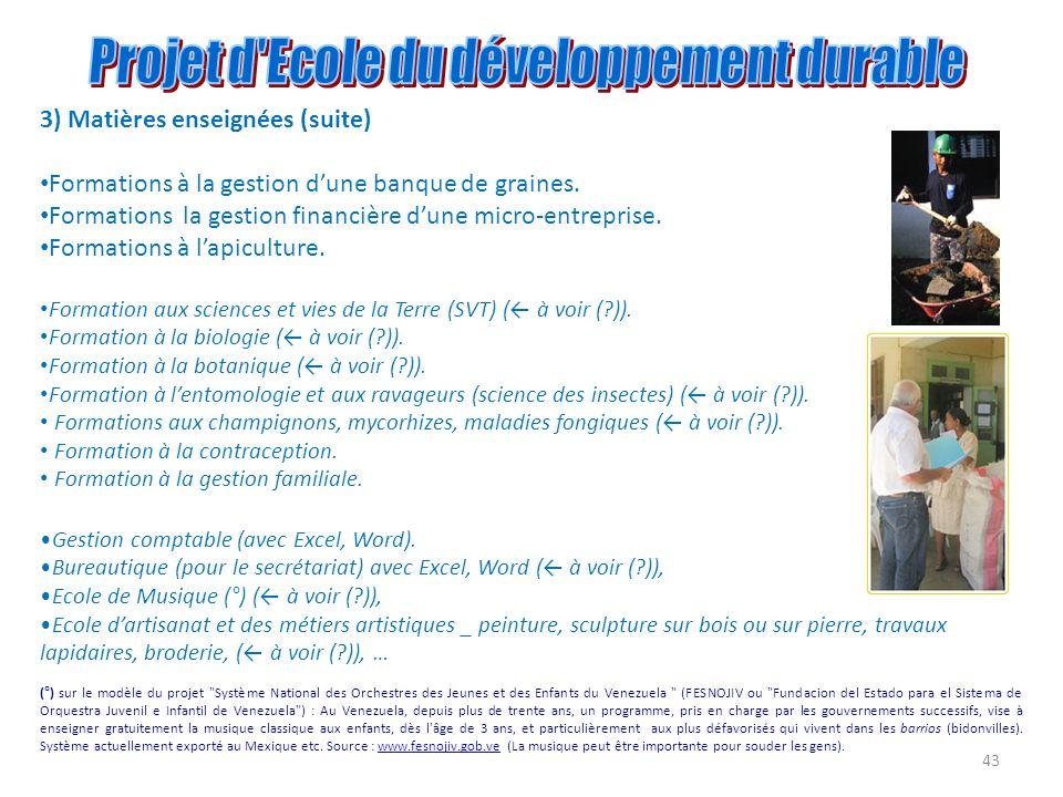 43 3) Matières enseignées (suite) Formations à la gestion dune banque de graines. Formations la gestion financière dune micro-entreprise. Formations à