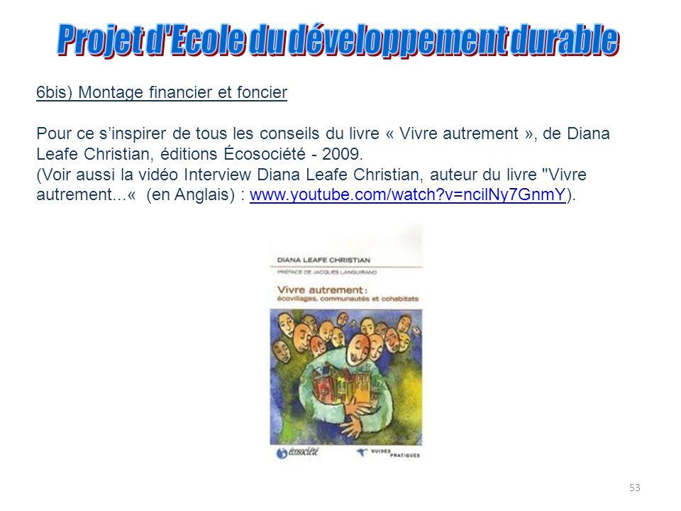 53 6bis) Montage financier et foncier Pour ce sinspirer de tous les conseils du livre « Vivre autrement », de Diana Leafe Christian, éditions Écosocié