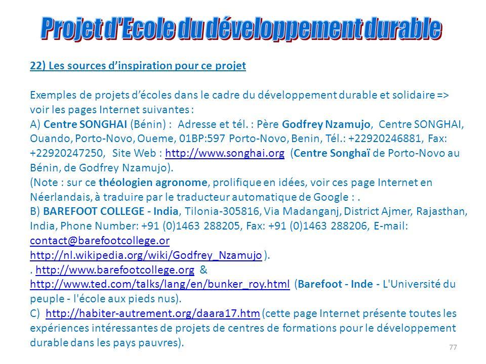 77 22) Les sources dinspiration pour ce projet Exemples de projets décoles dans le cadre du développement durable et solidaire => voir les pages Inter