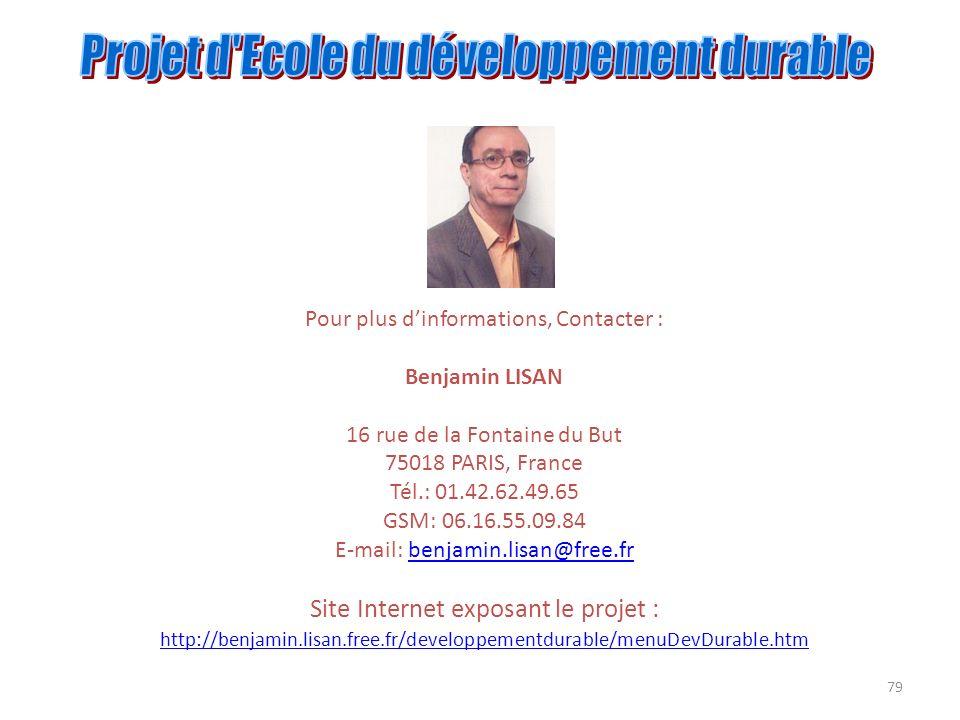 79 Pour plus dinformations, Contacter : Benjamin LISAN 16 rue de la Fontaine du But 75018 PARIS, France Tél.: 01.42.62.49.65 GSM: 06.16.55.09.84 E-mai