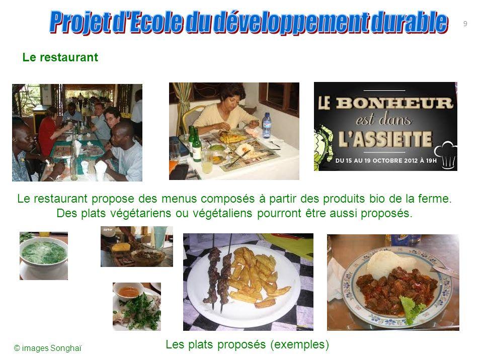 9 Le restaurant Le restaurant propose des menus composés à partir des produits bio de la ferme. Des plats végétariens ou végétaliens pourront être aus