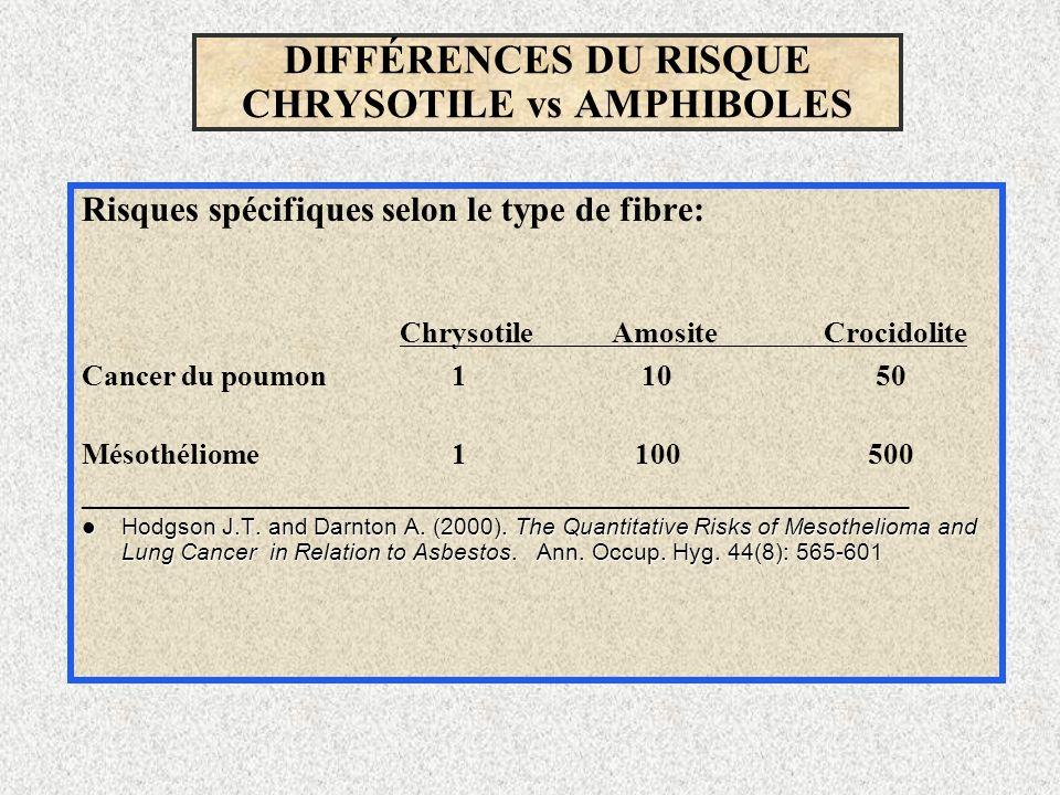 DIFFÉRENCES DU RISQUE CHRYSOTILE vs AMPHIBOLES Risques spécifiques selon le type de fibre: ChrysotileAmositeCrocidolite Cancer du poumon 1 10 50 Mésot