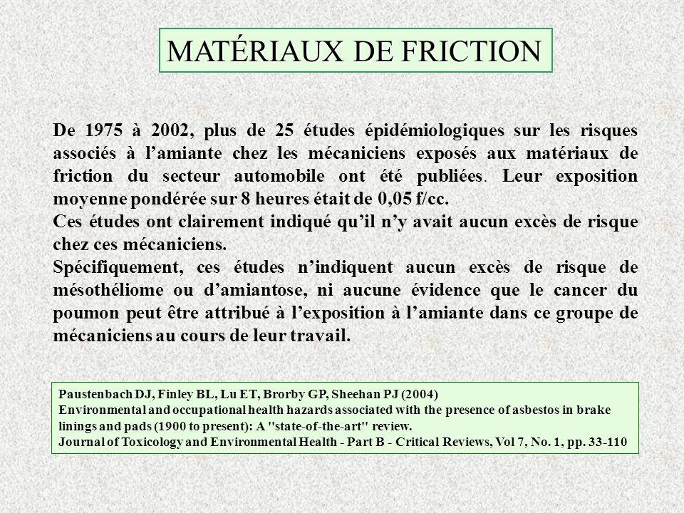 MATÉRIAUX DE FRICTION De 1975 à 2002, plus de 25 études épidémiologiques sur les risques associés à lamiante chez les mécaniciens exposés aux matériau