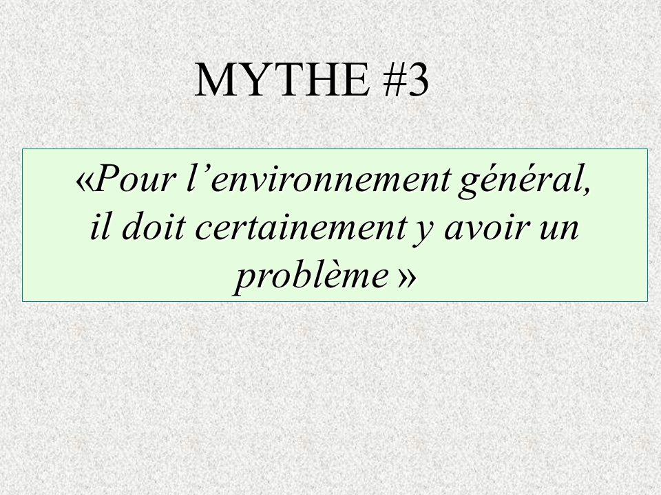 «Pour lenvironnement général, il doit certainement y avoir un problème » il doit certainement y avoir un problème » MYTHE #3