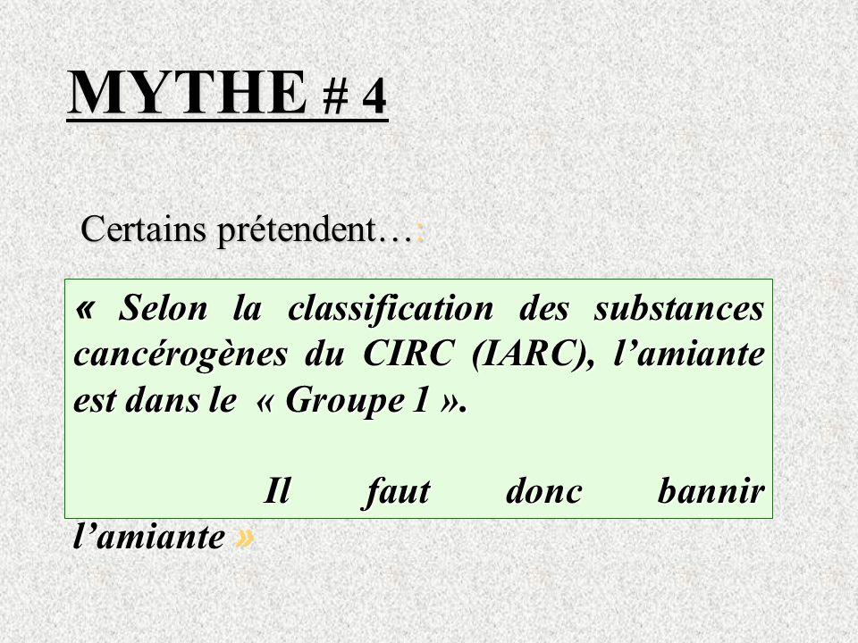 MYTHE # 4 Certains prétendent…: Selon la classification des substances cancérogènes du CIRC (IARC), lamiante est dans le « Groupe 1 ». « Selon la clas