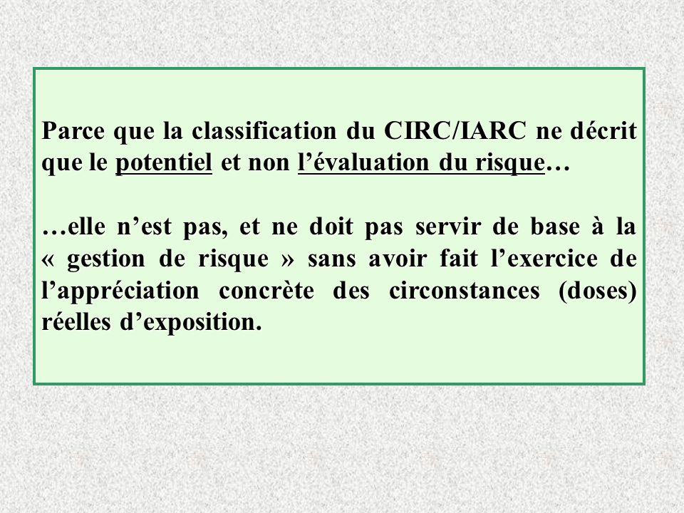 Parce que la classification du CIRC/IARC ne décrit que le potentiel et non lévaluation du risque… …elle nest pas, et ne doit pas servir de base à la «