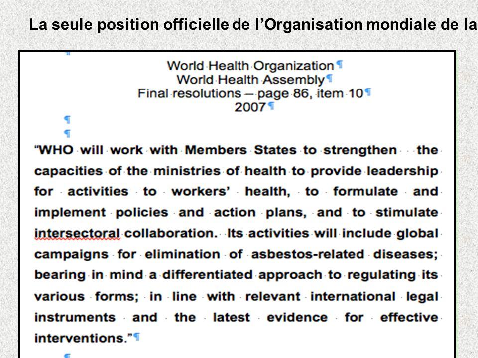 La seule position officielle de lOrganisation mondiale de la santé