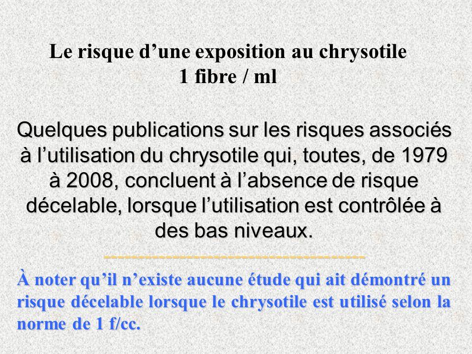 Quelques publications sur les risques associés à lutilisation du chrysotile qui, toutes, de 1979 à 2008, concluent à labsence de risque décelable, lor