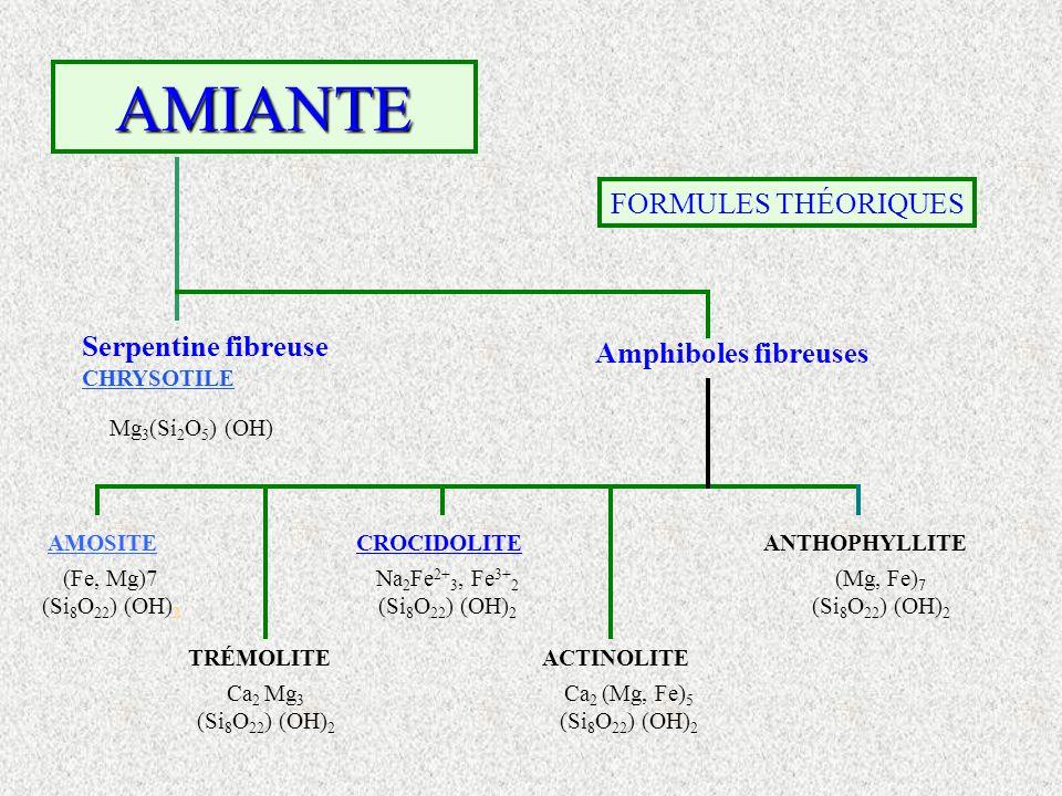 AMIANTE FORMULES THÉORIQUES Serpentine fibreuse CHRYSOTILE Amphiboles fibreuses AMOSITECROCIDOLITEANTHOPHYLLITE TRÉMOLITEACTINOLITE Mg 3 (Si 2 O 5 ) (