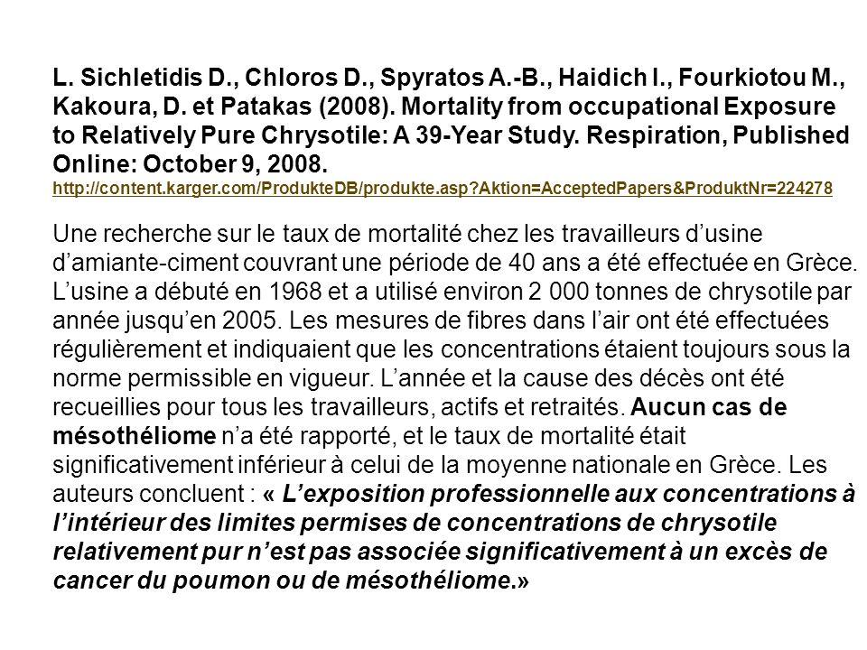 L. Sichletidis D., Chloros D., Spyratos A.-B., Haidich I., Fourkiotou M., Kakoura, D. et Patakas (2008). Mortality from occupational Exposure to Relat