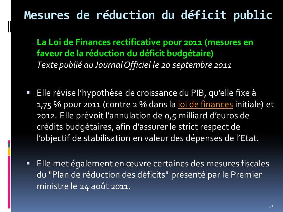Mesures de réduction du déficit public La Loi de Finances rectificative pour 2011 (mesures en faveur de la réduction du déficit budgétaire) Texte publ