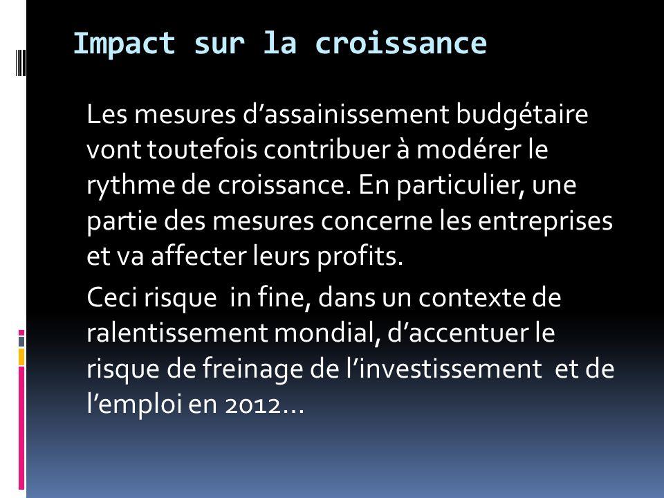 Les mesures dassainissement budgétaire vont toutefois contribuer à modérer le rythme de croissance. En particulier, une partie des mesures concerne le