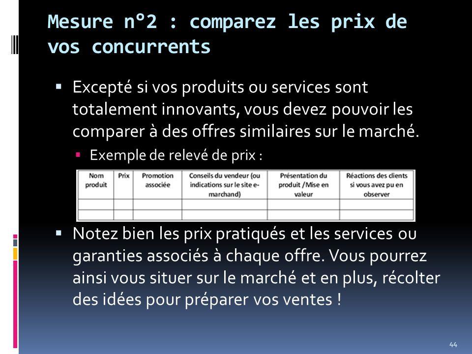Mesure n°2 : comparez les prix de vos concurrents Excepté si vos produits ou services sont totalement innovants, vous devez pouvoir les comparer à des
