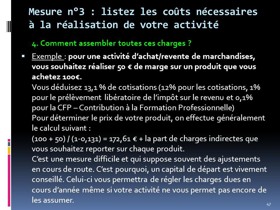 Mesure n°3 : listez les coûts nécessaires à la réalisation de votre activité 4. Comment assembler toutes ces charges ? Exemple : pour une activité dac