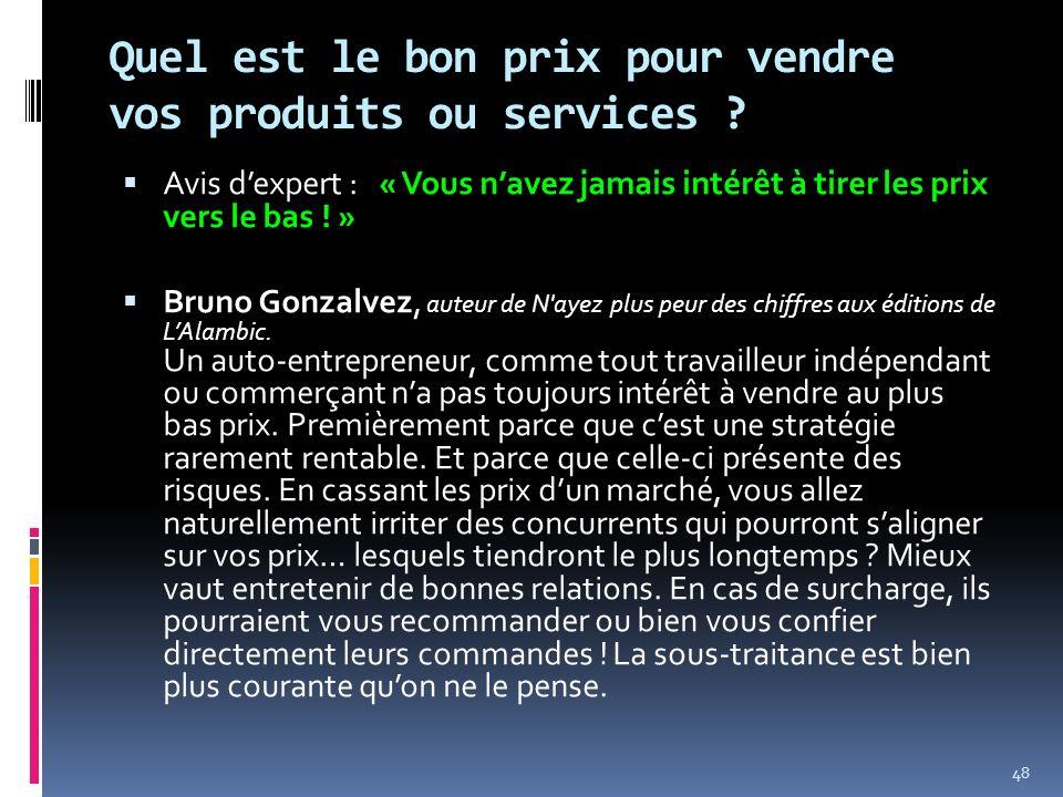 Quel est le bon prix pour vendre vos produits ou services ? Avis dexpert : « Vous navez jamais intérêt à tirer les prix vers le bas ! » Bruno Gonzalve