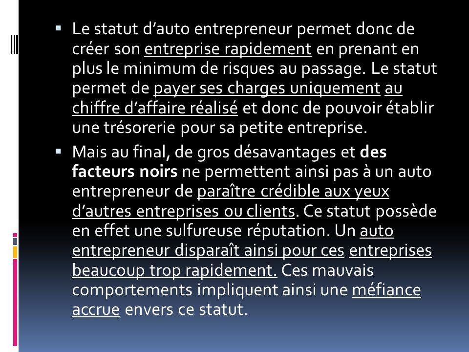 Le statut dauto entrepreneur permet donc de créer son entreprise rapidement en prenant en plus le minimum de risques au passage. Le statut permet de p