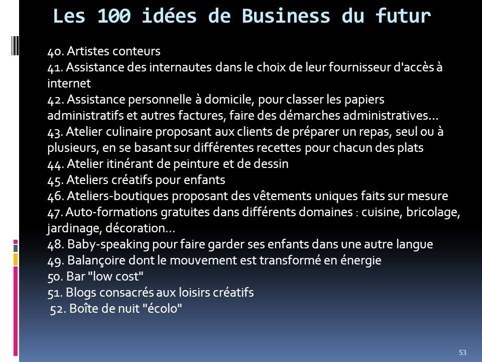 Les 100 idées de Business du futur 40. Artistes conteurs 41. Assistance des internautes dans le choix de leur fournisseur d'accès à internet 42. Assis