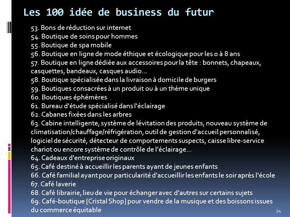 Les 100 idée de business du futur 53. Bons de réduction sur internet 54. Boutique de soins pour hommes 55. Boutique de spa mobile 56. Boutique en lign