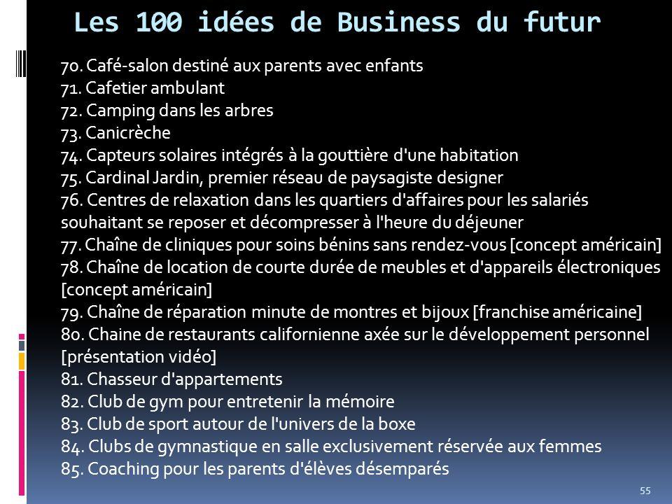 Les 100 idées de Business du futur 70. Café-salon destiné aux parents avec enfants 71. Cafetier ambulant 72. Camping dans les arbres 73. Canicrèche 74