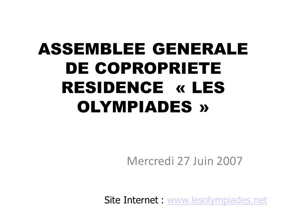 Situation actuelle de la Copropriété et ses principaux pôles de dépenses Site Internet : www.lesolympiades.netwww.lesolympiades.net