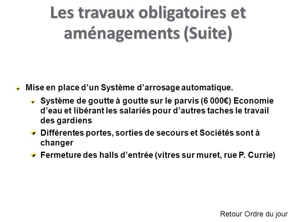 Les travaux obligatoires et aménagements (Suite) Mise en place dun Système darrosage automatique.