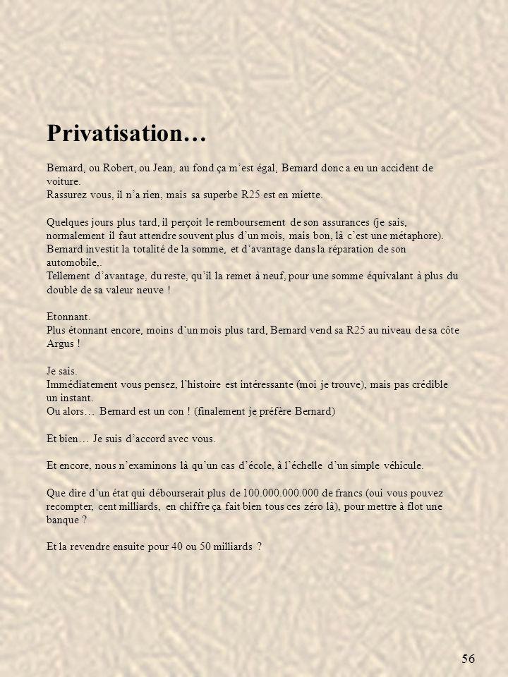56 Privatisation… Bernard, ou Robert, ou Jean, au fond ça mest égal, Bernard donc a eu un accident de voiture. Rassurez vous, il na rien, mais sa supe