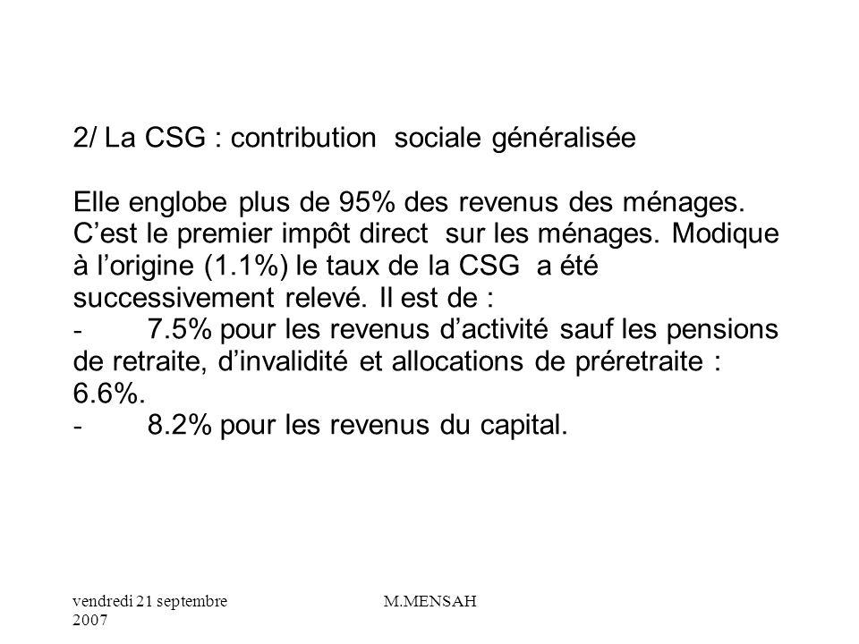 vendredi 21 septembre 2007 M.MENSAH II/ LES PRELEVEMENTS SOCIAUX 1/ Les cotisations sociales patronales et salariales. Elles représentent, lapport des