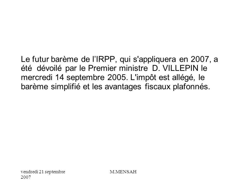 vendredi 21 septembre 2007 M.MENSAH Tranches en euros / Taux d imposition Jusqu à 4.334 : 0 % De 4.334 à 8.524 : 6,83 % De 8.524 à 15.004 : 19,14 % De 15.004 à 24.294 : 28,26 % De 24.294 à 39.529 : 37,38 % De 39.529 à 48.747 : 42,62 % Au-delà de 48.747 : 48,09 % Ce barème ne traduit pas, contrairement aux trois années précédentes, de baisse de l impôt.