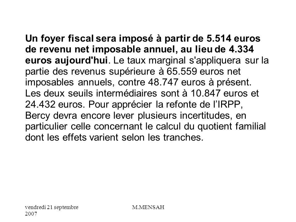 vendredi 21 septembre 2007 M.MENSAH Le nouveau barème comprend quatre taux d imposition, allant de 5,5 % pour le plus bas à 40 % pour le plus élevé.