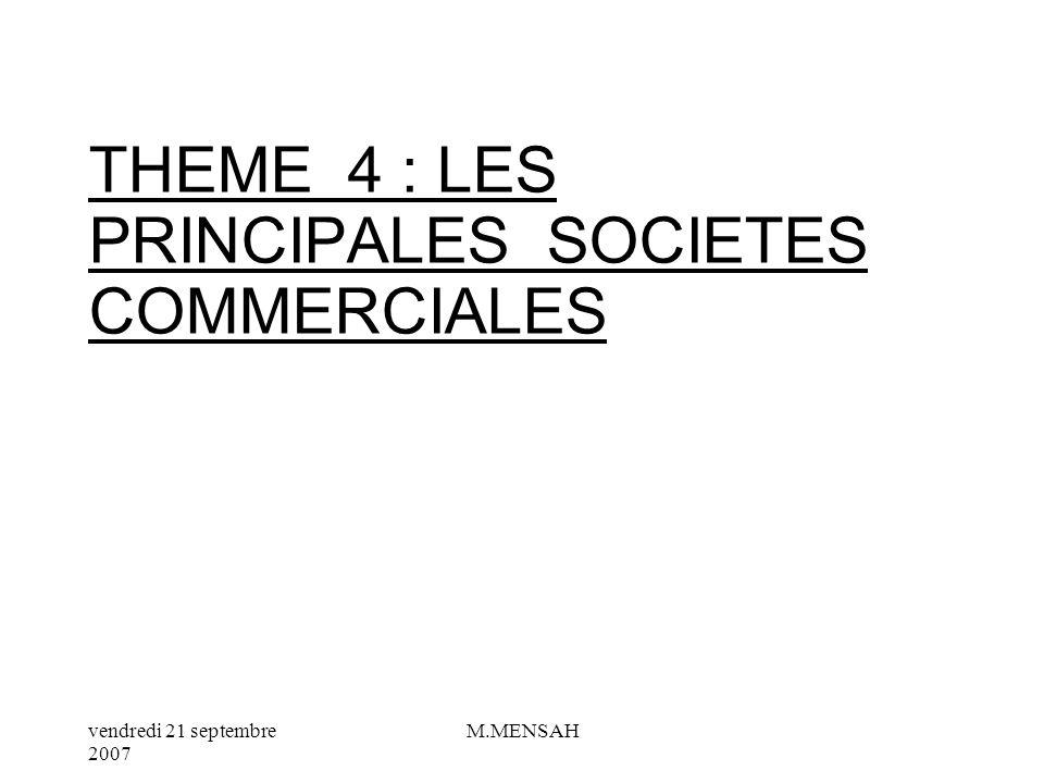 vendredi 21 septembre 2007 M.MENSAH VII/ LA PERSONNALITE MORALE VIII/ LES DIRIGEANTS DES SOCIETES IX / LES ASSEMBLEES GENERALES X/ LORGANE DE CONTROLE