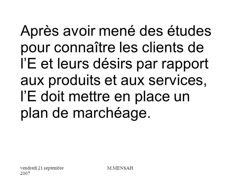 vendredi 21 septembre 2007 M.MENSAH THEME 6 : LE PLAN DE MARCHEAGE DE LENTREPRISE