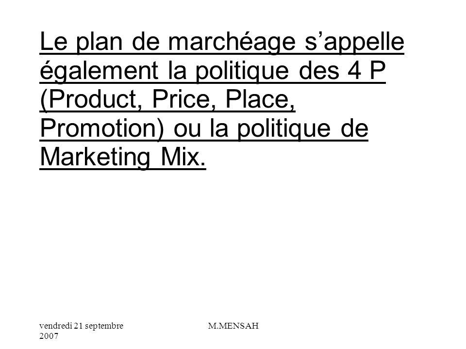 vendredi 21 septembre 2007 M.MENSAH I/ QUEST – CE QUUN PLAN DE MARCHEAGE ? Le plan de marchéage est une technique qui sert à développer une politique