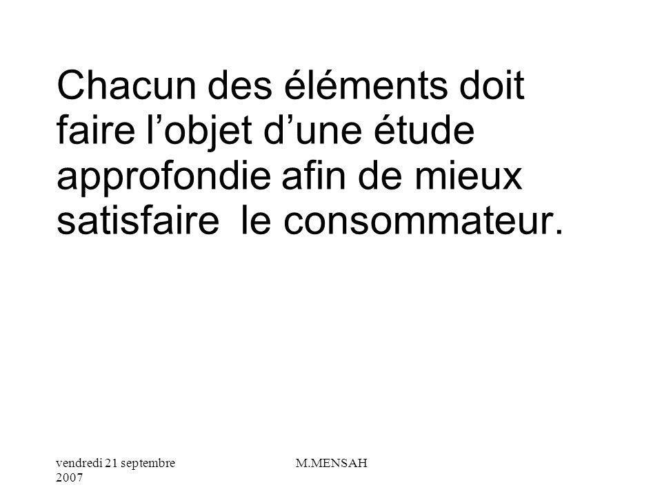 vendredi 21 septembre 2007 M.MENSAH ELEMENTS A ANALYSER DESIGN COULEU R CONDITIONNEMEN T MARQU E