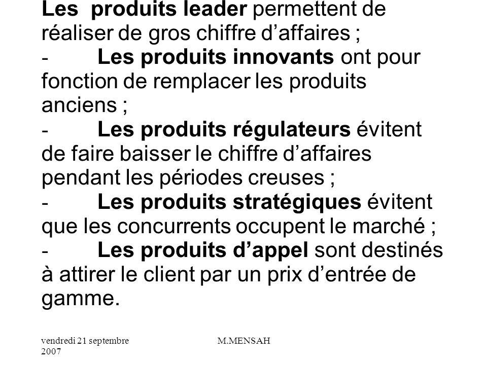 vendredi 21 septembre 2007 M.MENSAH Une fois que le produit est défini, il est adapté aux divers segments du marché : cest la politique de gamme.