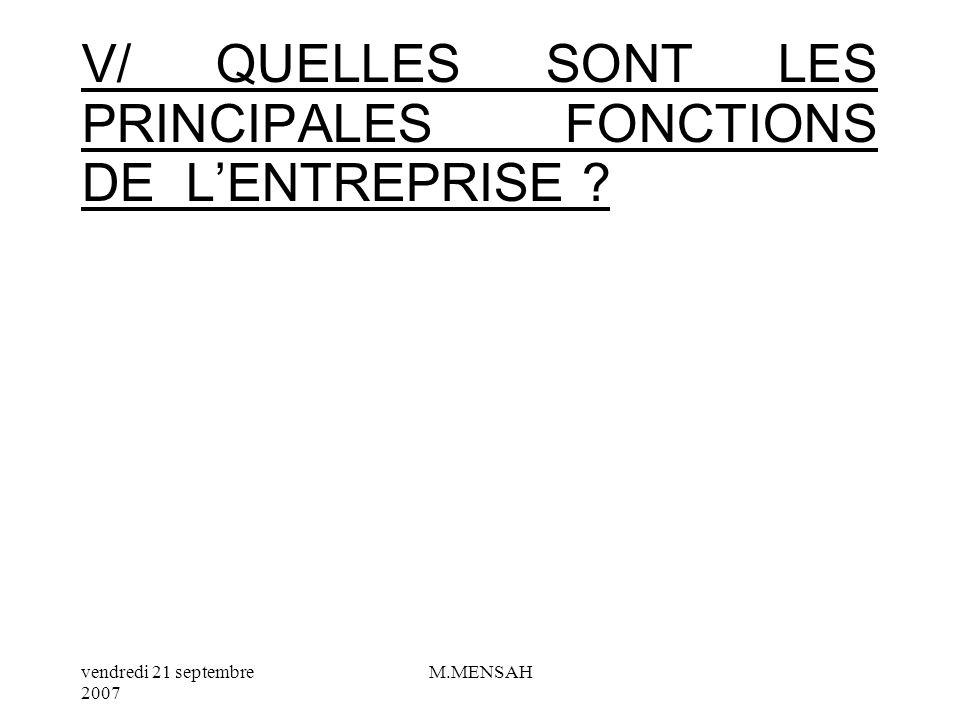 vendredi 21 septembre 2007 M.MENSAH IV/ QUELS SONT LES DIFFERENTS SECTEURS DACTIVITE DE LE ?