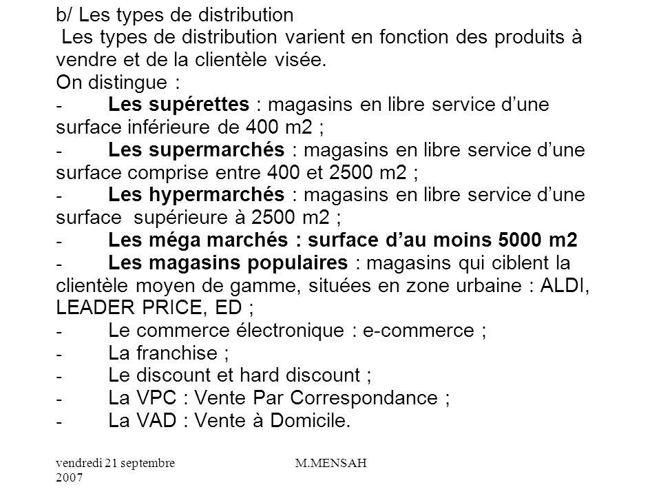 vendredi 21 septembre 2007 M.MENSAH a/ Quels sont les circuits de distribution? Commerçant Indépendant Grandes surfaces spécialisées, Franchises Vente
