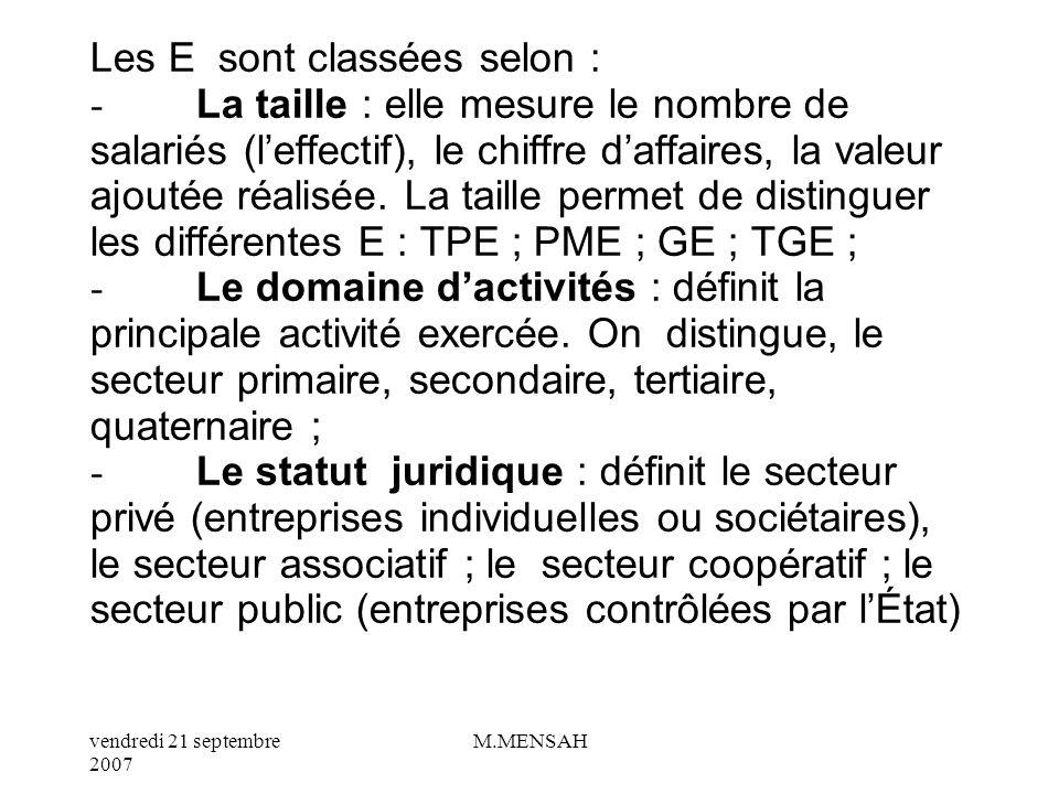 vendredi 21 septembre 2007 M.MENSAH VI/ QUELS SONT LES CRITERES DE CLASSIFICATION DES ENTREPRISES ?