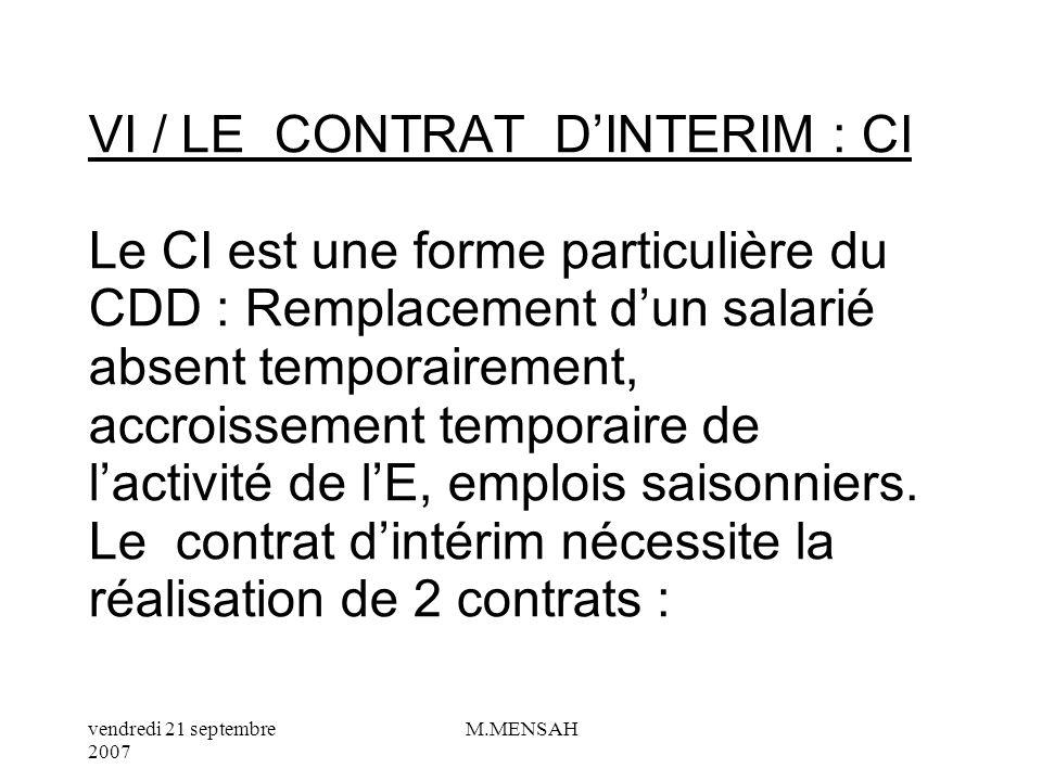 vendredi 21 septembre 2007 M.MENSAH IV/ LE CONTRAT NOUVELLE EMBAUCHE : CNE Le CNE est apparu 2005 : cest un nouveau contrat de travail qui apporte une modification sur la période dessai.