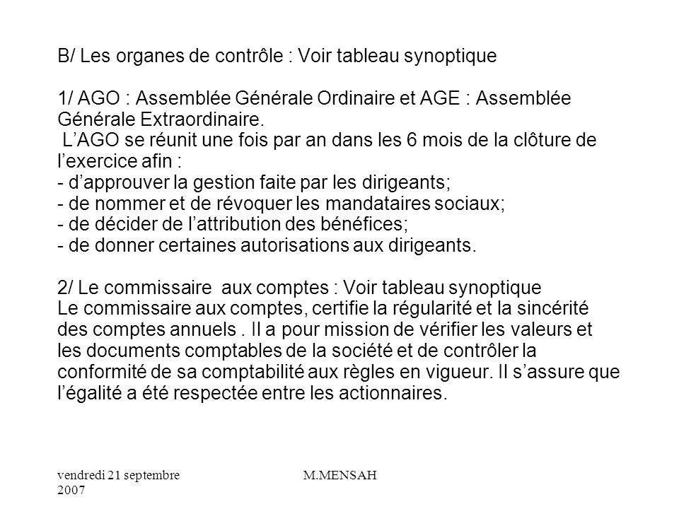 vendredi 21 septembre 2007 M.MENSAH II/ LES DIRIGEANTS ET LES DECISIONS DE GESTION A/ Les organes de direction et de gestion : Voir tableau synoptique