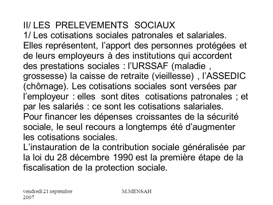 vendredi 21 septembre 2007 M.MENSAH D/ Les taxes parafiscales Elles sont perçues dans un intérêt économique et social (amélioration du fonctionnement