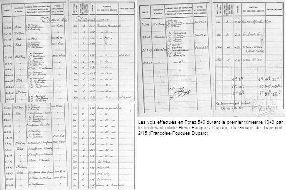 Les vols effectués en Potez 540 durant le premier trimestre 1943 par le lieutenant-pilote Henri Fouques Duparc, du Groupe de Transport 2/15 (Françoise Fouques Duparc)