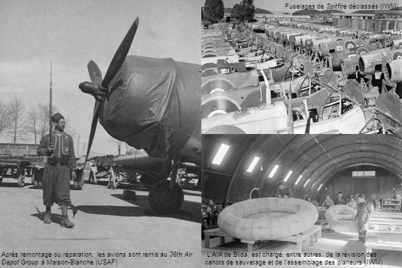Après remontage ou réparation, les avions sont remis au 36th Air Depot Group à Maison-Blanche (USAF) LAIA de Blida, est chargé, entre autres, de la révision des canots de sauvetage et de lassemblage des planeurs (IWM) Fuselages de Spitfire déclassés (IWM)
