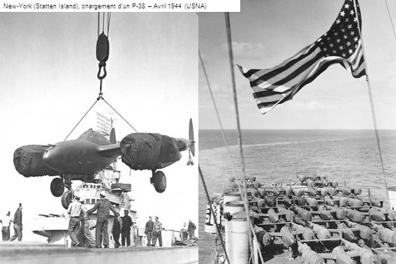 New-York (Statten Island), chargement dun P-38 – Avril 1944 (USNA)