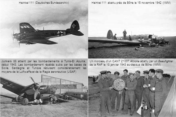 Heinkel 111 (Deutsches Bundesarchiv) Junkers 88 atteint par les bombardements à Tunis-El Aouina, début 1943.