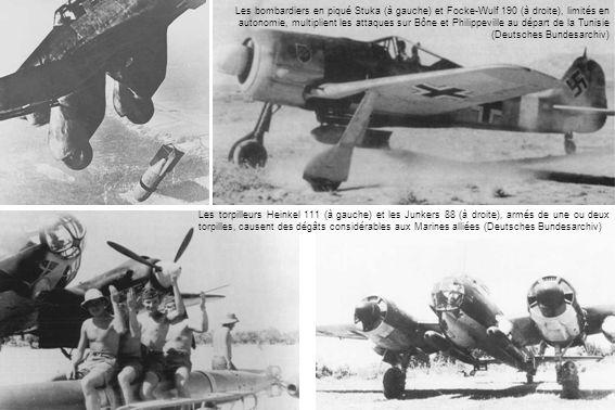 Les bombardiers en piqué Stuka (à gauche) et Focke-Wulf 190 (à droite), limités en autonomie, multiplient les attaques sur Bône et Philippeville au départ de la Tunisie (Deutsches Bundesarchiv) Les torpilleurs Heinkel 111 (à gauche) et les Junkers 88 (à droite), armés de une ou deux torpilles, causent des dégâts considérables aux Marines alliées (Deutsches Bundesarchiv)