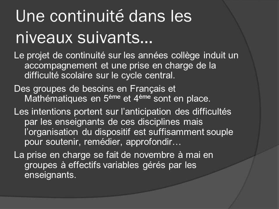 Une continuité dans les niveaux suivants… Le projet de continuité sur les années collège induit un accompagnement et une prise en charge de la difficulté scolaire sur le cycle central.