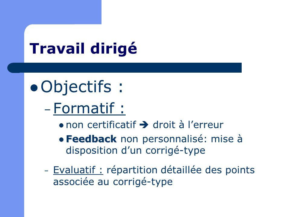 Travail dirigé Objectifs : – Formatif : non certificatif droit à lerreur Feedback Feedback non personnalisé: mise à disposition dun corrigé-type – Eva