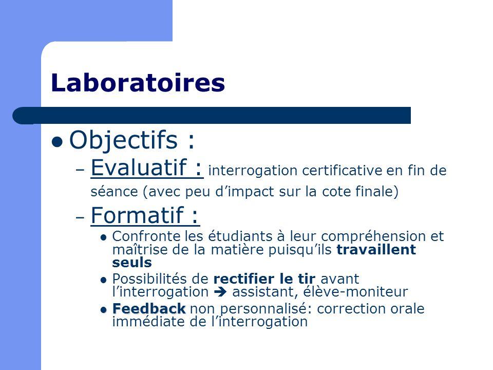 Laboratoires Objectifs : – Evaluatif : interrogation certificative en fin de séance (avec peu dimpact sur la cote finale) – Formatif : Confronte les é